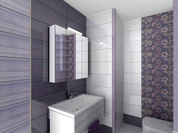 вариант необычного интерьера укладки плитки в ванной комнате