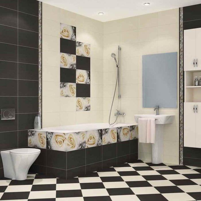 вариант яркого дизайна укладки плитки в ванной комнате