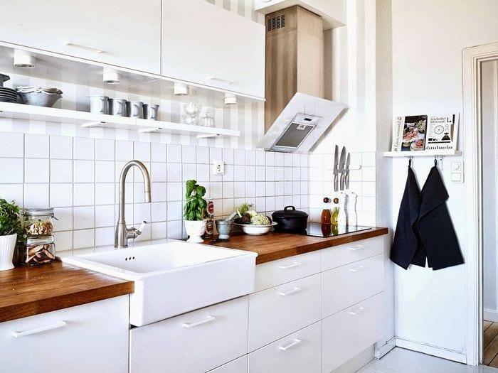 белый кафель на кухню