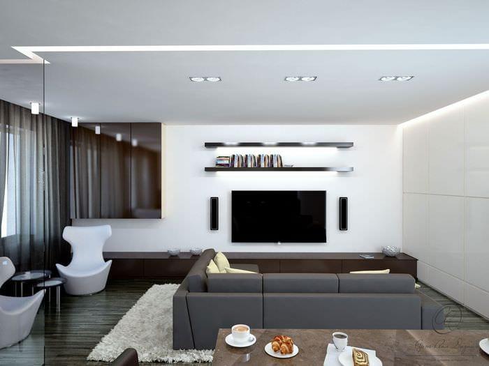 потолок в гостиной минимализм