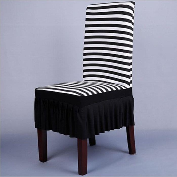Чехлы в полосатом стиле на стулья для кухни