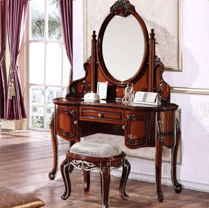 Вливание трюмо с зеркалом в ретро стиле в спальню
