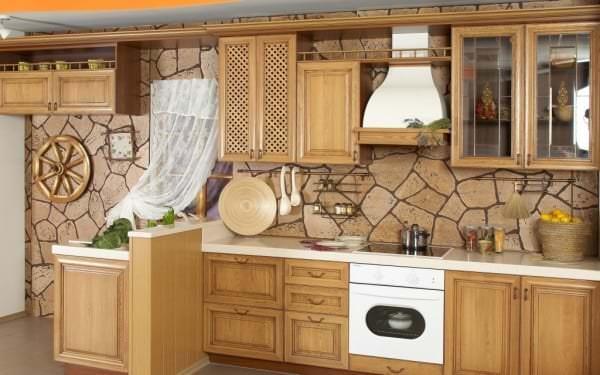 Фотообои с нейтральным рисунком для кухни