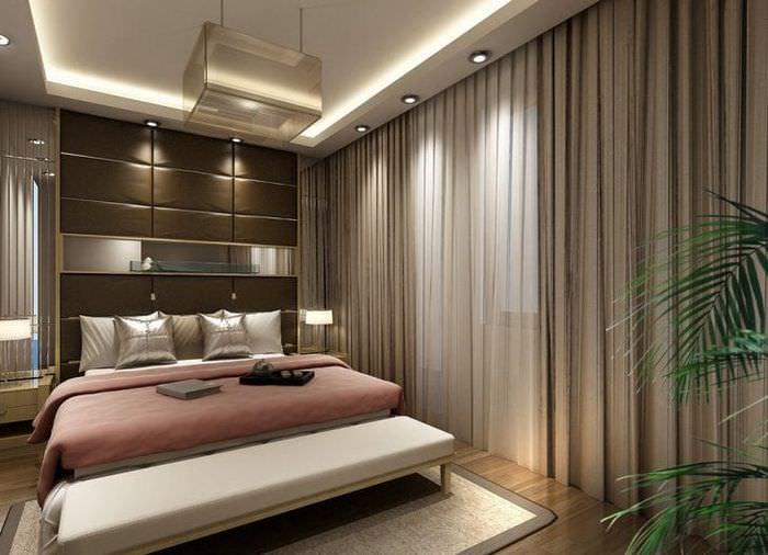 Занавески коричневого цвета в спальню в стиле ар-деко