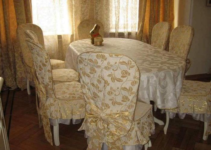Чехлы с узором на стулья для кухни