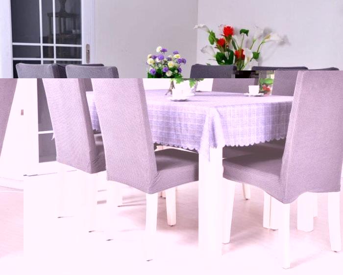 Чехлы фиолетового цвета на стулья для кухни