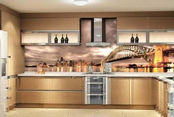 Фотообои с изображением вечернего города для кухни