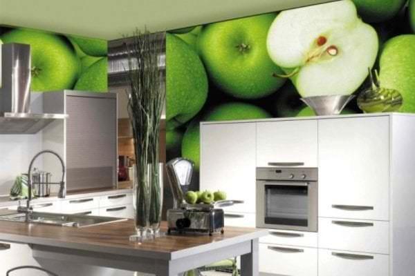 Фотообои с изображением яблок для кухни