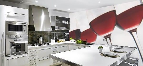 Моющиеся фотообои с изображением бокалов вина для кухни