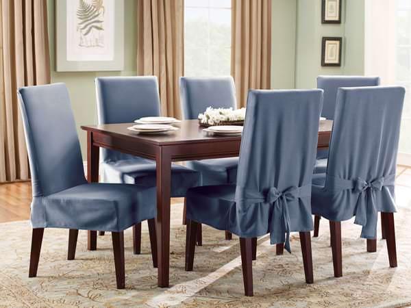 Чехлы синего цвета на стулья для кухни