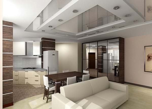 Дизайн потолков из гипсокартона гостиный