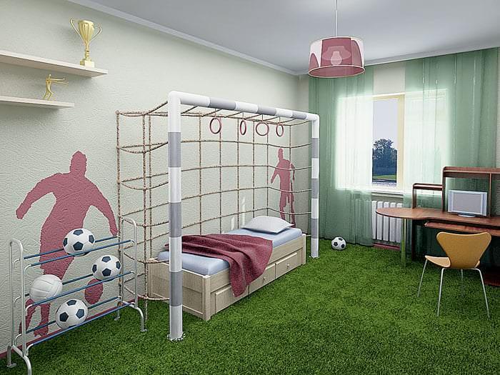 Детская комната в спортивном стиле для мальчика