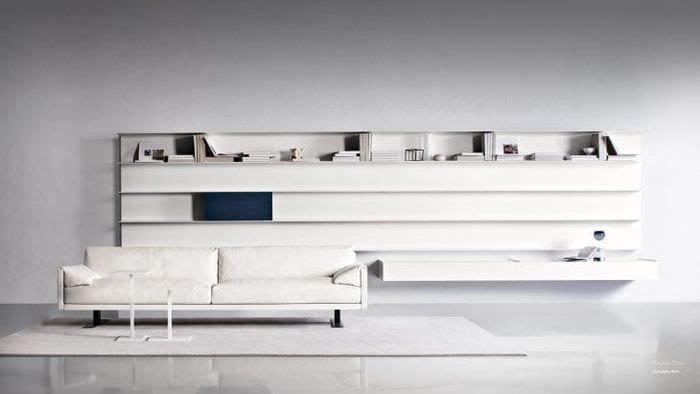 Белая  модульная система для просторной гостиной
