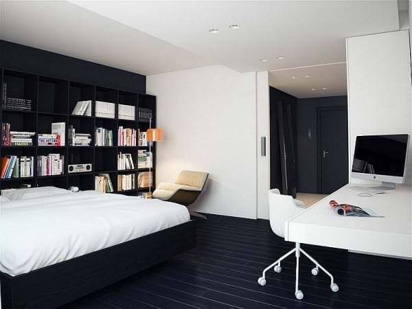 Стены в минималистичной спальне – от штукатурки и вагонки до обоев