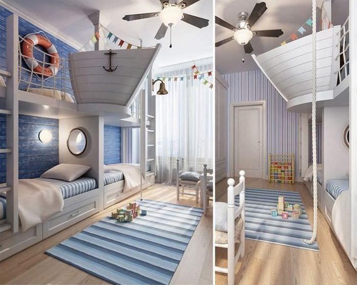 Декор светлой детской комнаты в морском стиле