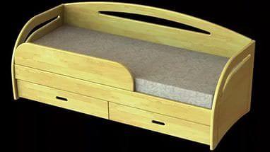 Деревянная светлая детская кровать трансформер с ящиками