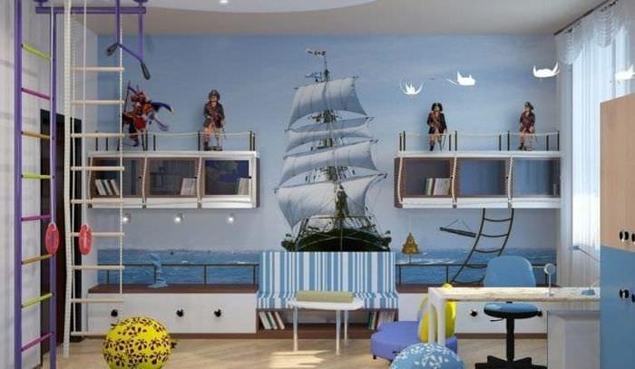 Детская комната для мальчика в современном морском стиле
