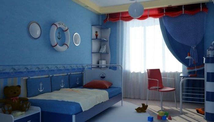 Большая детская комната в морском стиле для маленького юнги