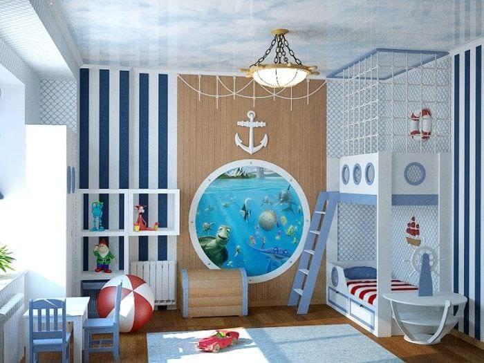 Дизайн детской комнаты в модном морском стиле