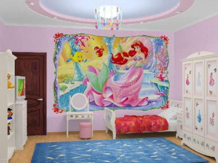 Дизайн фотообоев для просторной детской комнаты маленькой принцессы