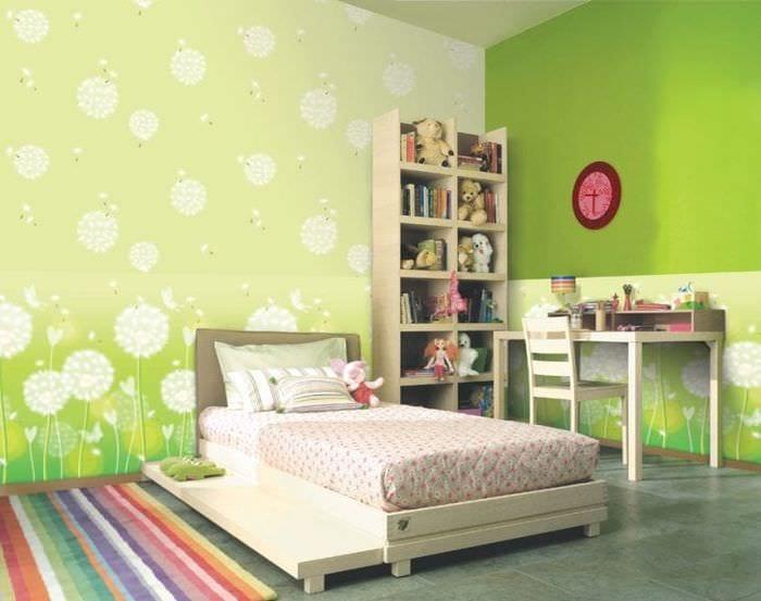 Дизайн фотообоев для детской комнаты в зеленых теплых оттенках