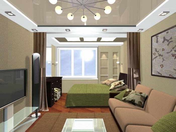 спальня гостиная в одной комнате 18 кв м фото с кроватью
