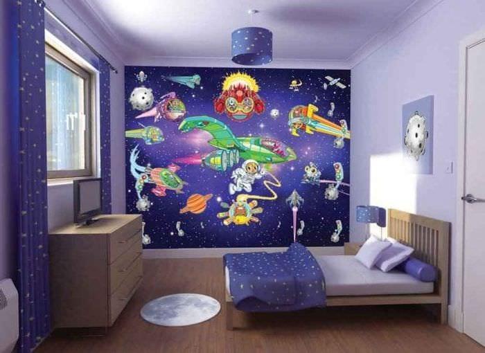 Дизайн обоев для большой детской комнаты для мальчика