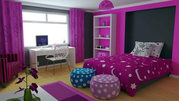 Дизайн обоев для детской комнаты в розовом насыщенном цвете