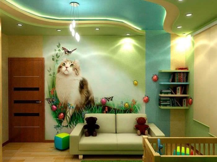 Многоуровневый натяжной потолок для своременной десткой комнаты