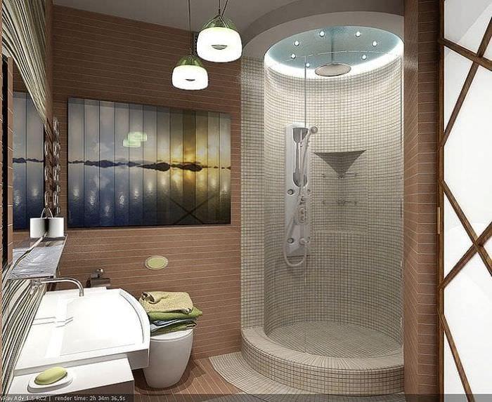 Стильное оформление душевой кабины в ванной комнате