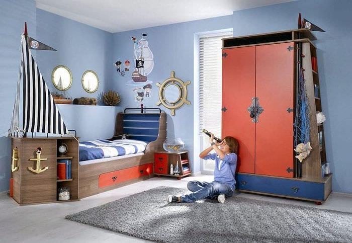 Детские для мальчиков в морском стиле фото интерьеров