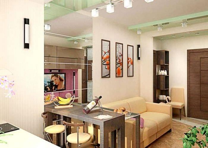 Дизайн кухня гостиная 30 кв.м