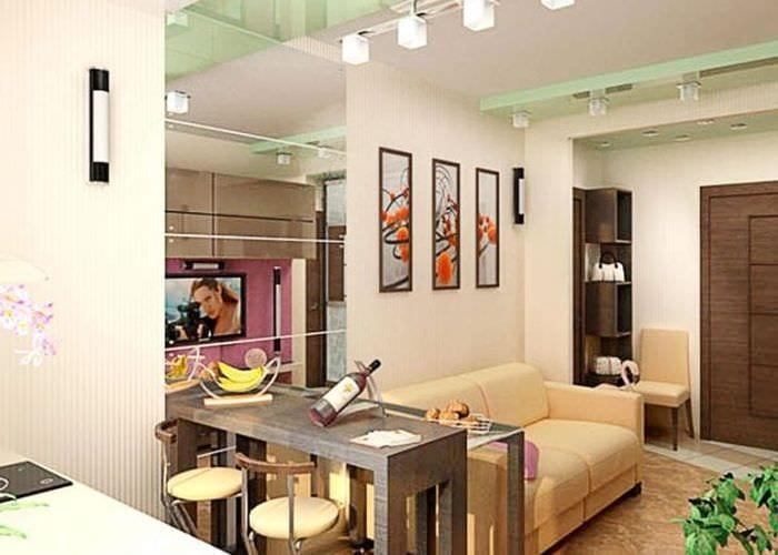 Интерьер кухни-гостиной с барной стойкой  на 30 квадратных метров