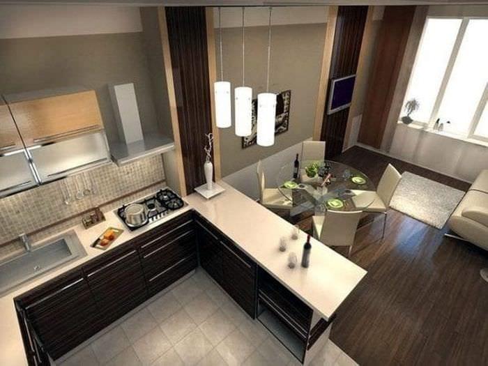 Модная комната с разделением для столовой гостиной и кухни