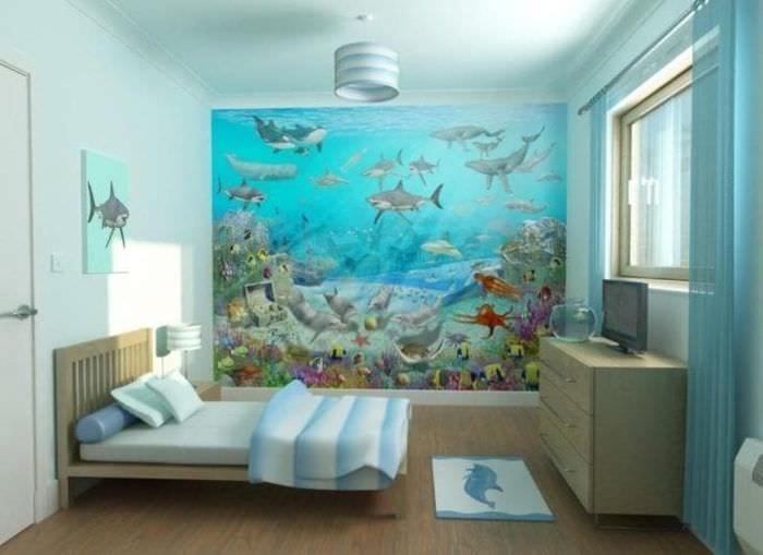 Фото тематических обоев для оформления стены в детской комнате для мальчика