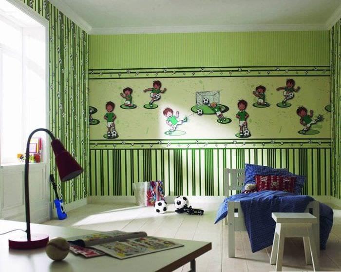 Фотообои с тематическими спортивными рисунками в детскую комнату