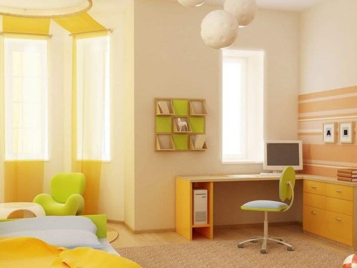 Оформление детской комнаты для мальчика обоями теплых постельных тонов