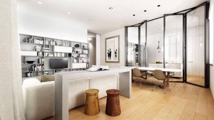 Современный стиль минимализм для гостиной
