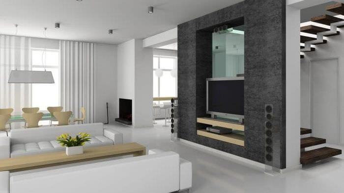 Строгая мебель для гостной в стиле минимализм