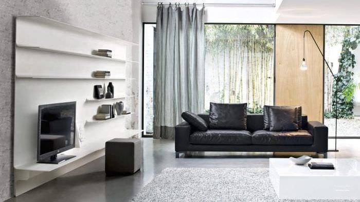 Интерьер современной и стильной гостиной с модульными системами