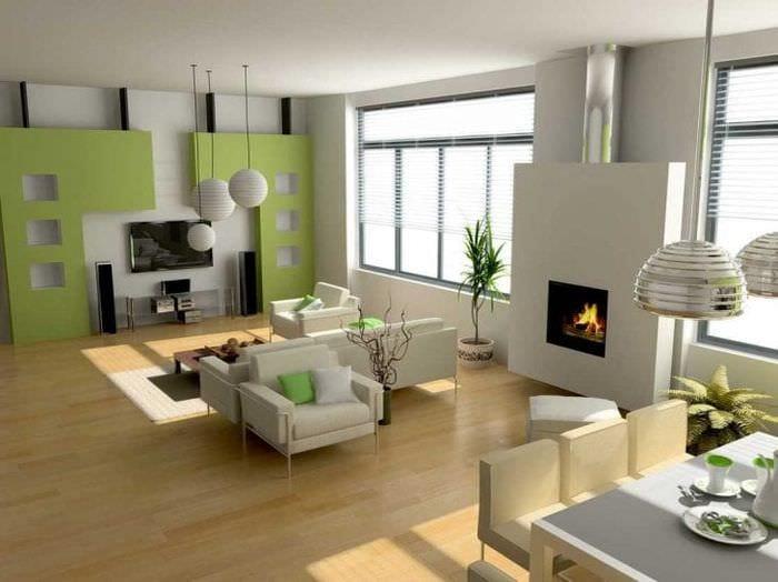 Комната 3 в 1 с яркими акцентами зеленого цвета в декоре
