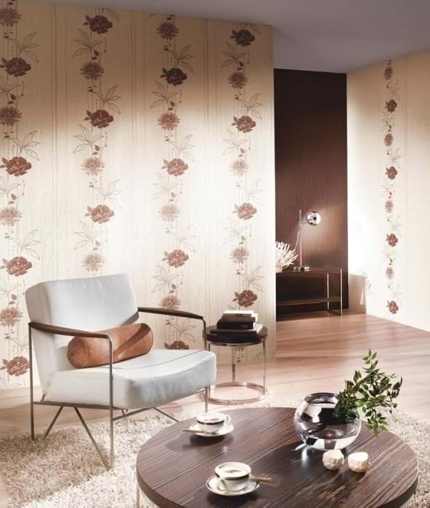 Красивые обои Эрисман теплых коричневых тонов для гостиной и зала
