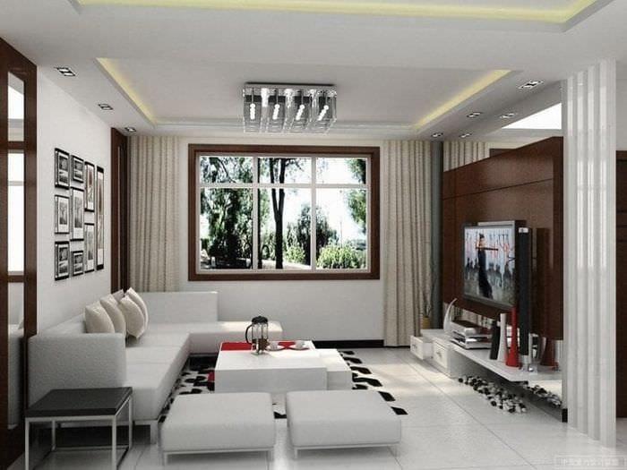 Строгая гостиная с декором в стиле минимализма