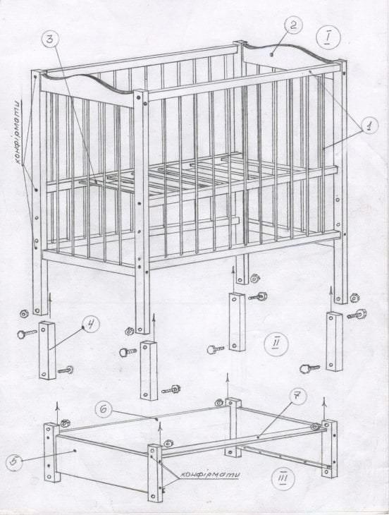 Мастер-класс детской кроватки с чертежами и фото