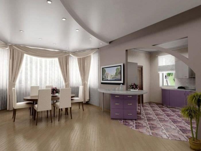 Минусы и плюсы глянцевого натяжного потолка молочного цвета для гостиной