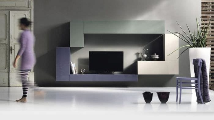Модный дизайн оформления гостиной с помощью модульной системы