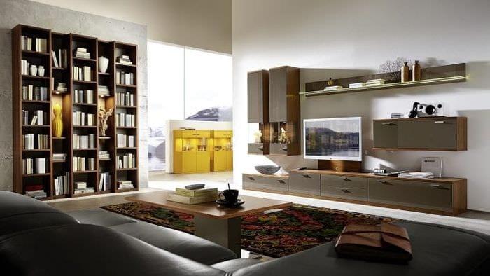 Модульная система для оформления зоны хранения книг в гостиной