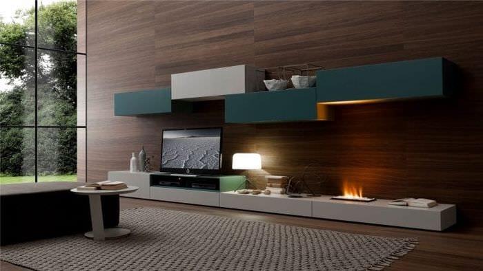 Модульные системы в гостиной для красивой расстановки декора