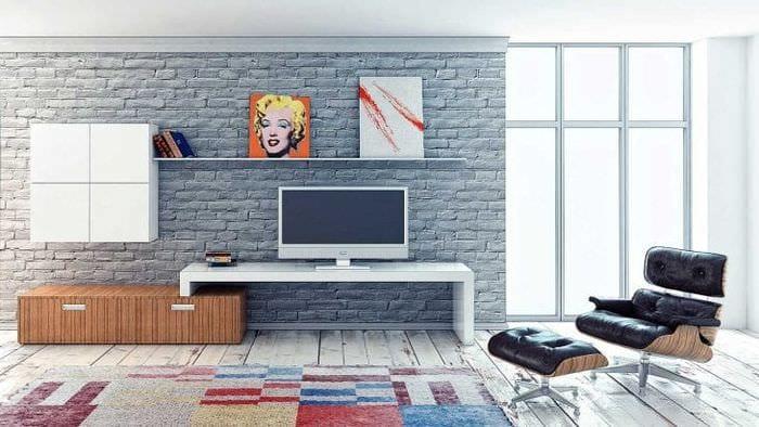 Модульная система для гостиной с лаконичным и простым стилем