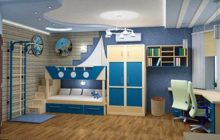 Морской стиль для декора просторной детской комнаты для мальчика